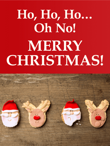 bitten cookie funny merry christmas card - No Photo Christmas Cards