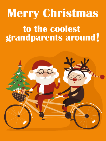 Tandem Bicycle Merry Christmas Card for Cool Grandparents | Birthday ...