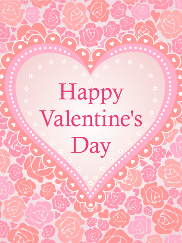 Pink Roses And Hearts Happy Valentine S Day Card Birthday