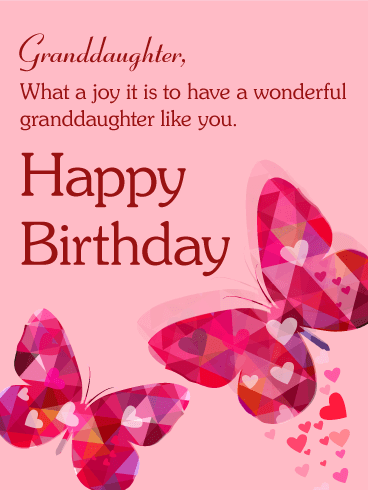 Pink Butterfly Happy Birthday Card For Granddaughter Birthday